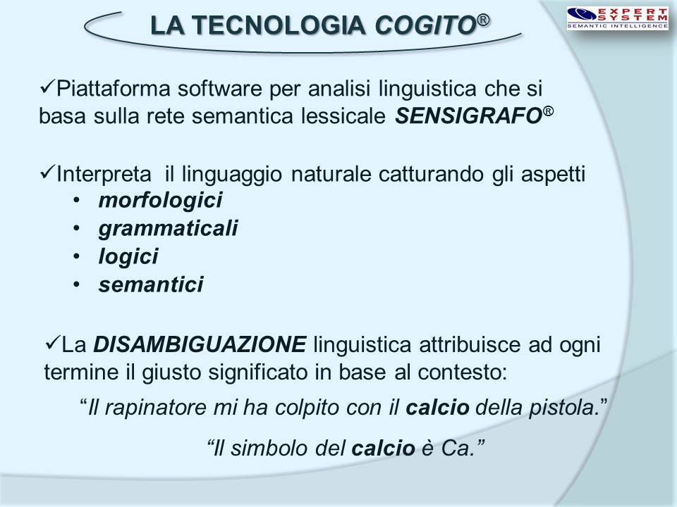 LA TECNOLOGIA COGITO ® Piattaforma software per analisi linguistica che si basa sulla rete semantica lessicale SENSIGRAFO ® Interpreta il linguaggio n
