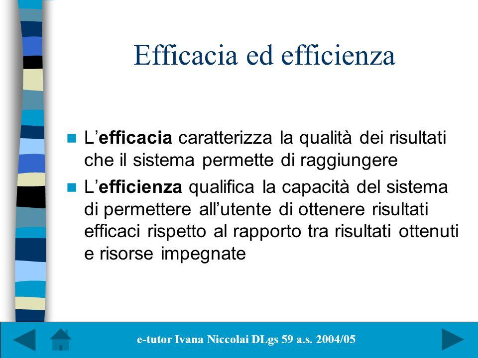 Efficacia ed efficienza Lefficacia caratterizza la qualità dei risultati che il sistema permette di raggiungere Lefficienza qualifica la capacità del