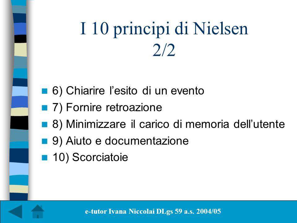 I 10 principi di Nielsen 2/2 6) Chiarire lesito di un evento 7) Fornire retroazione 8) Minimizzare il carico di memoria dellutente 9) Aiuto e document