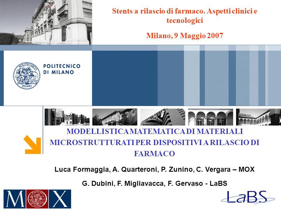 MODELLISTICA MATEMATICA DI MATERIALI MICROSTRUTTURATI PER DISPOSITIVI A RILASCIO DI FARMACO Luca Formaggia, A. Quarteroni, P. Zunino, C. Vergara – MOX