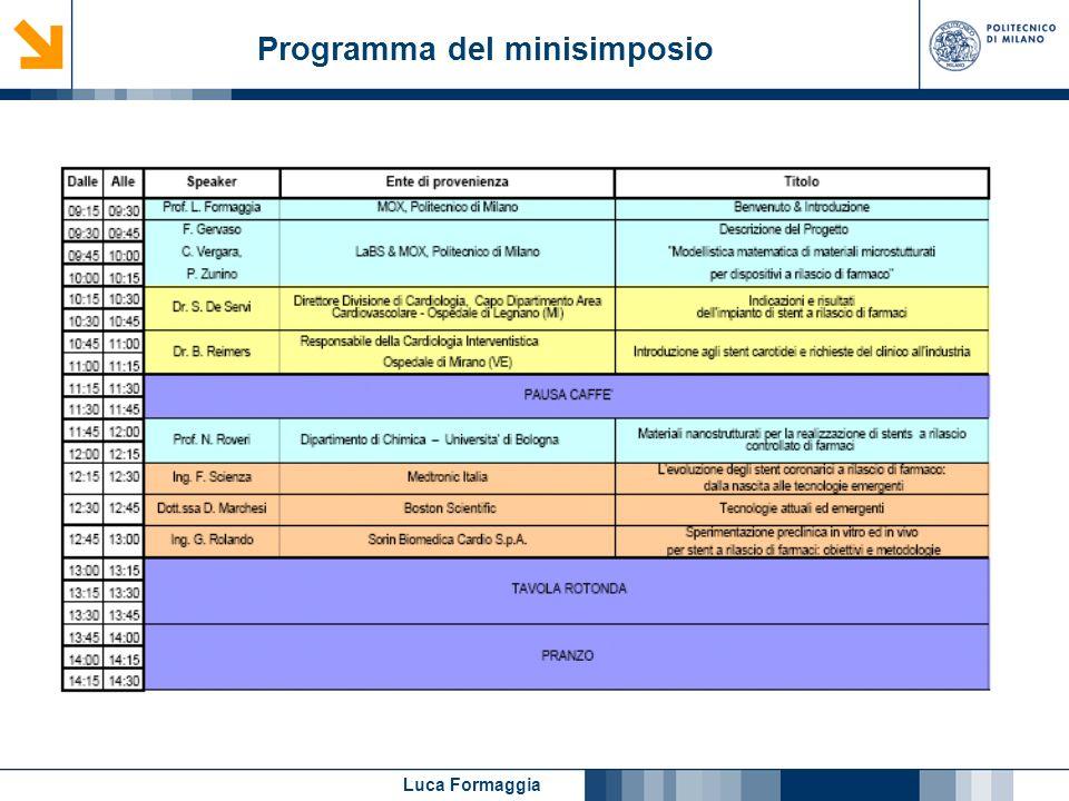 Luca Formaggia Programma del minisimposio