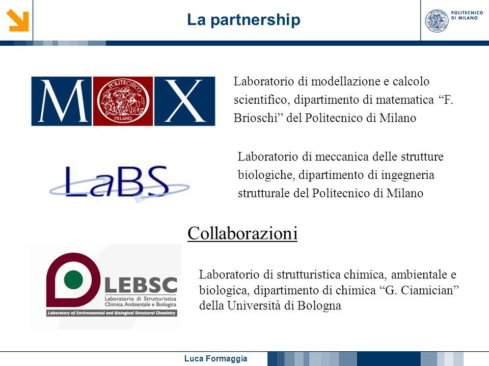 Luca Formaggia La partnership Laboratorio di modellazione e calcolo scientifico, dipartimento di matematica F. Brioschi del Politecnico di Milano Coll