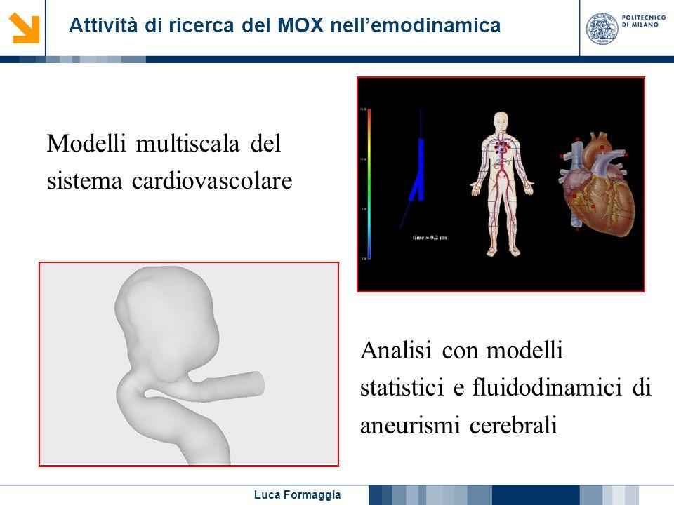Luca Formaggia Attività di ricerca del MOX nellemodinamica Modelli multiscala del sistema cardiovascolare Analisi con modelli statistici e fluidodinam