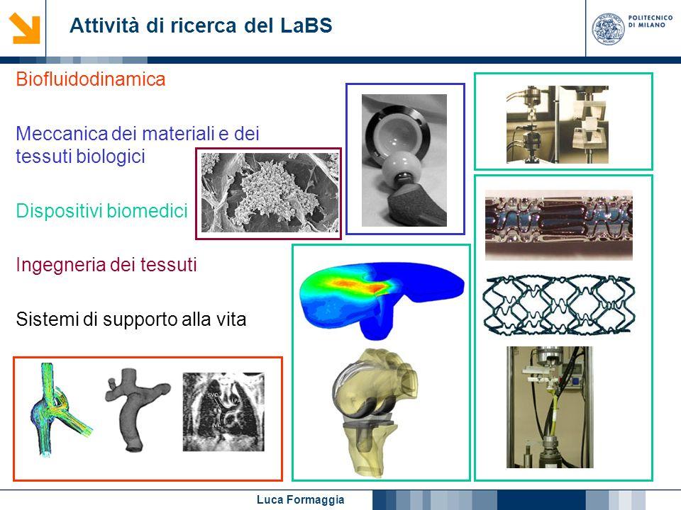 Luca Formaggia Attività di ricerca del LaBS Biofluidodinamica Meccanica dei materiali e dei tessuti biologici Dispositivi biomedici Ingegneria dei tes
