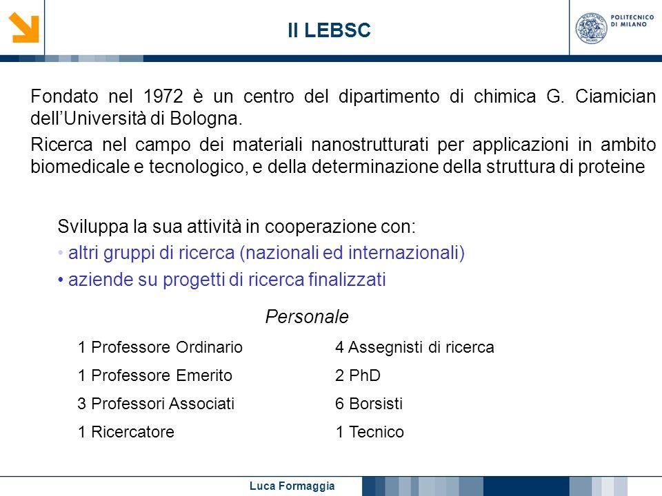 Luca Formaggia Il LEBSC Fondato nel 1972 è un centro del dipartimento di chimica G. Ciamician dellUniversità di Bologna. Ricerca nel campo dei materia