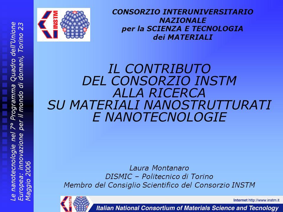 CONSORZIO INTERUNIVERSITARIO NAZIONALE per la SCIENZA E TECNOLOGIA dei MATERIALI Le nanotecnologie nel 7° Programma Quadro dellUnione Europea: innovaz