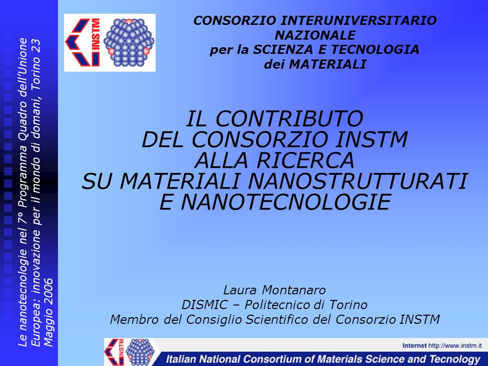 I Centri di Riferimento INSTM Transformation technologies for Polymeric and Composite Materials - Coordinator: Prof.