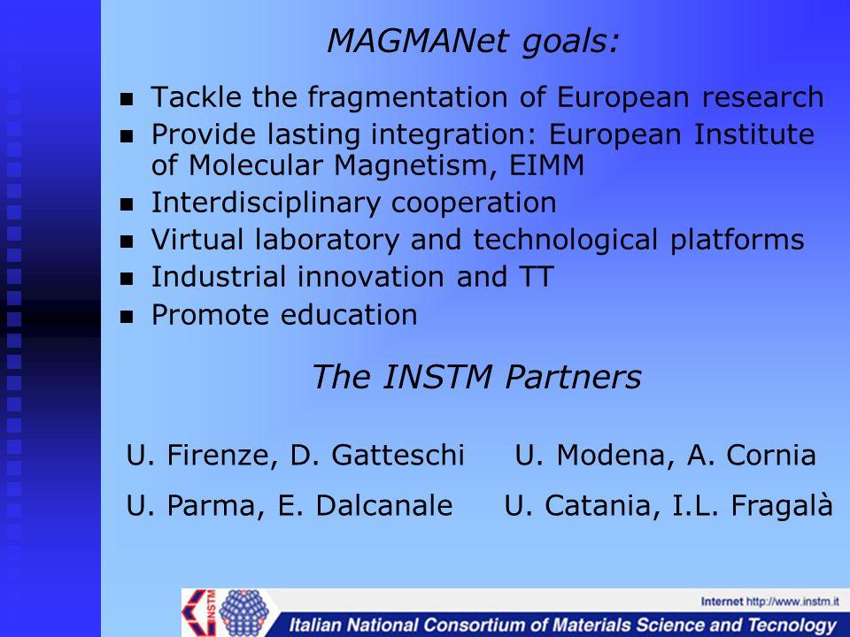 MAGMANet goals: Tackle the fragmentation of European research Provide lasting integration: European Institute of Molecular Magnetism, EIMM Interdiscip