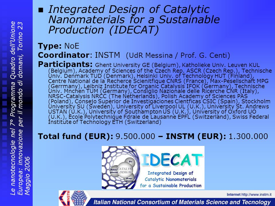 Integrated Design of Catalytic Nanomaterials for a Sustainable Production (IDECAT) Type: NoE Coordinator: INSTM (UdR Messina / Prof. G. Centi) Partici