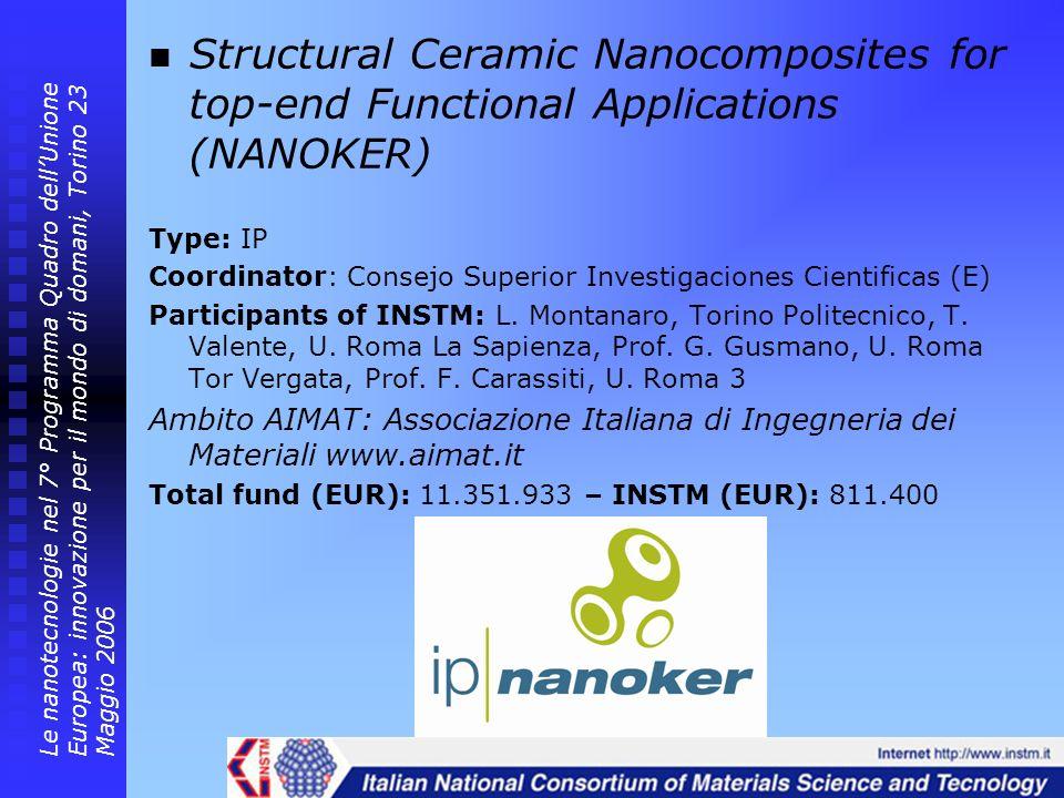 Structural Ceramic Nanocomposites for top-end Functional Applications (NANOKER) Type: IP Coordinator: Consejo Superior Investigaciones Cientificas (E)