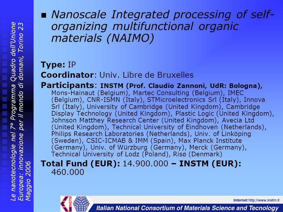 Nanoscale Integrated processing of self- organizing multifunctional organic materials (NAIMO) Type: IP Coordinator: Univ. Libre de Bruxelles Participa