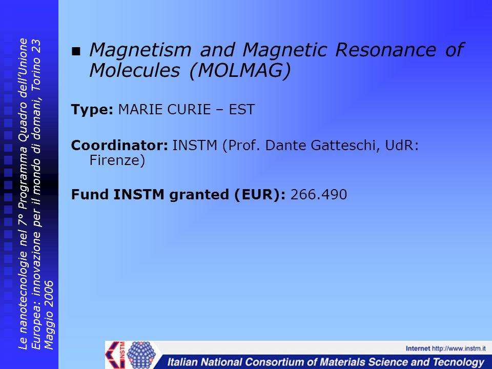 Magnetism and Magnetic Resonance of Molecules (MOLMAG) Type: MARIE CURIE – EST Coordinator: INSTM (Prof. Dante Gatteschi, UdR: Firenze) Fund INSTM gra