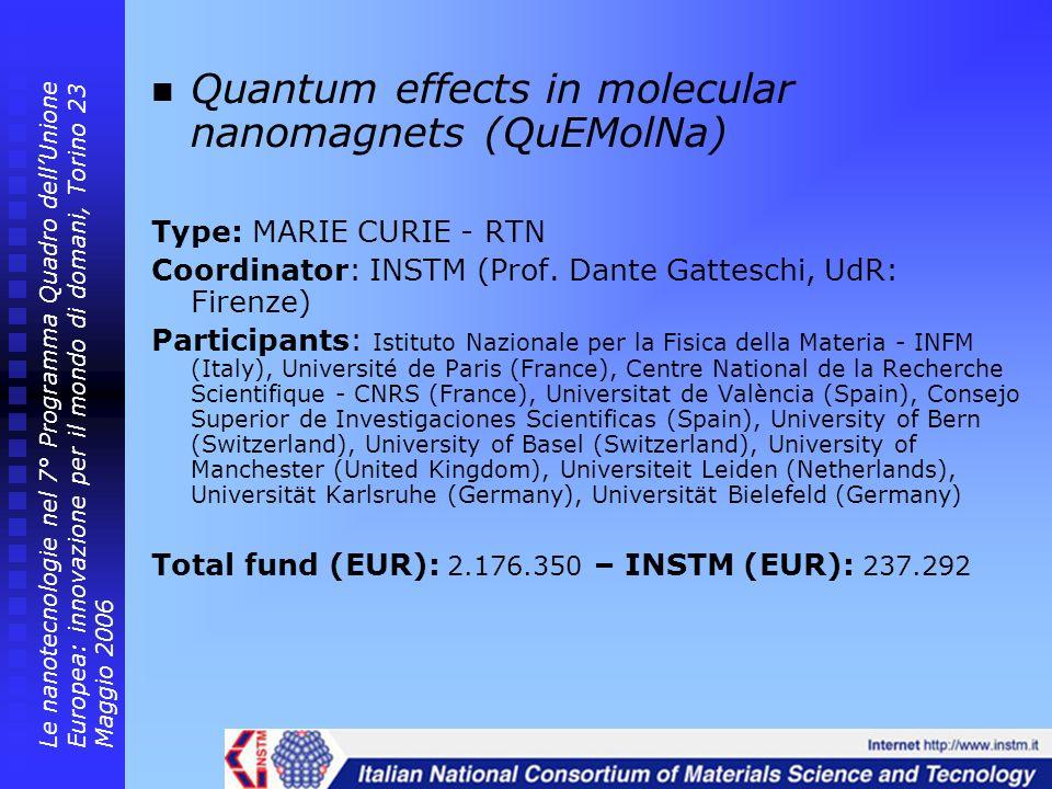 Quantum effects in molecular nanomagnets (QuEMolNa) Type: MARIE CURIE - RTN Coordinator: INSTM (Prof. Dante Gatteschi, UdR: Firenze) Participants: Ist