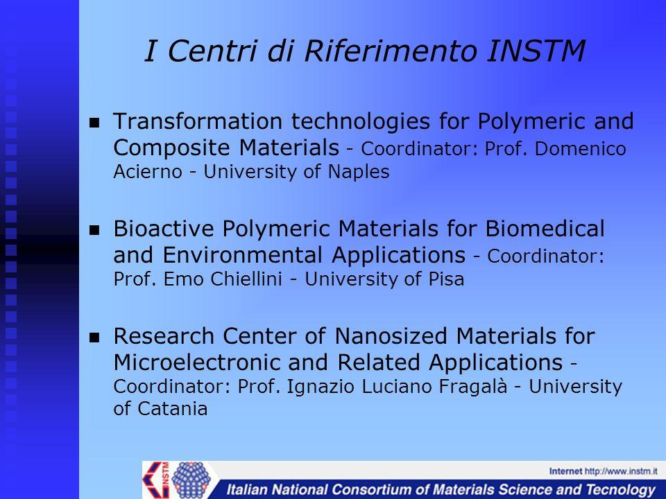 I Centri di Riferimento INSTM Transformation technologies for Polymeric and Composite Materials - Coordinator: Prof. Domenico Acierno - University of