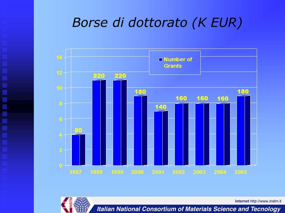 Borse di dottorato (K EUR) 80 220 180 140 160 180 160