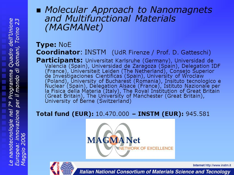 Molecular Approach to Nanomagnets and Multifunctional Materials (MAGMANet) Type: NoE Coordinator: INSTM (UdR Firenze / Prof. D. Gatteschi) Participant