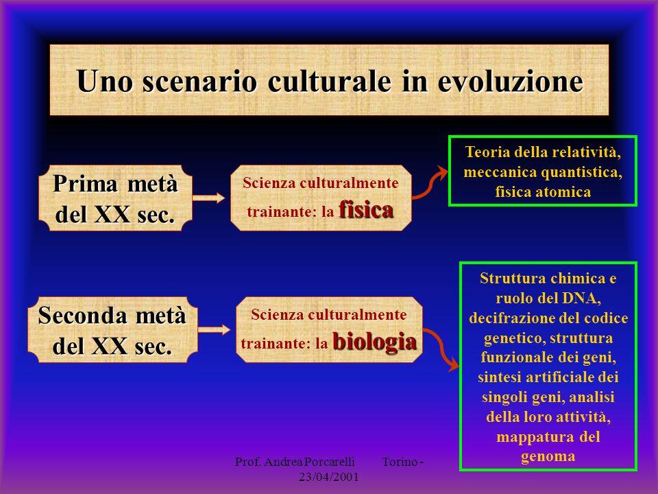 Prof. Andrea Porcarelli Torino - 23/04/2001 Uno scenario culturale in evoluzione Prima metà del XX sec. Seconda metà del XX sec. fisica Scienza cultur