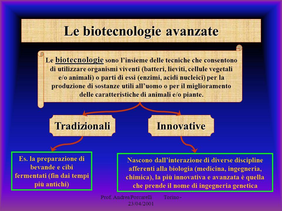 Prof. Andrea Porcarelli Torino - 23/04/2001 Le biotecnologie avanzate biotecnologie Le biotecnologie sono linsieme delle tecniche che consentono di ut
