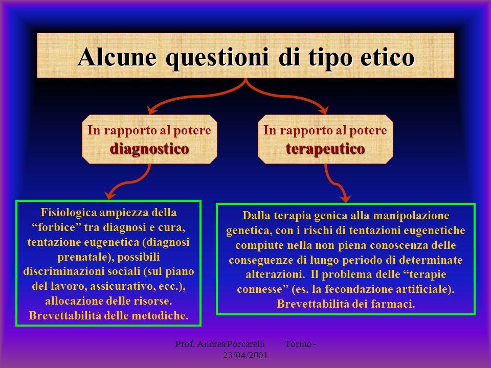 Prof. Andrea Porcarelli Torino - 23/04/2001 Alcune questioni di tipo etico diagnostico In rapporto al potere diagnostico Fisiologica ampiezza della fo