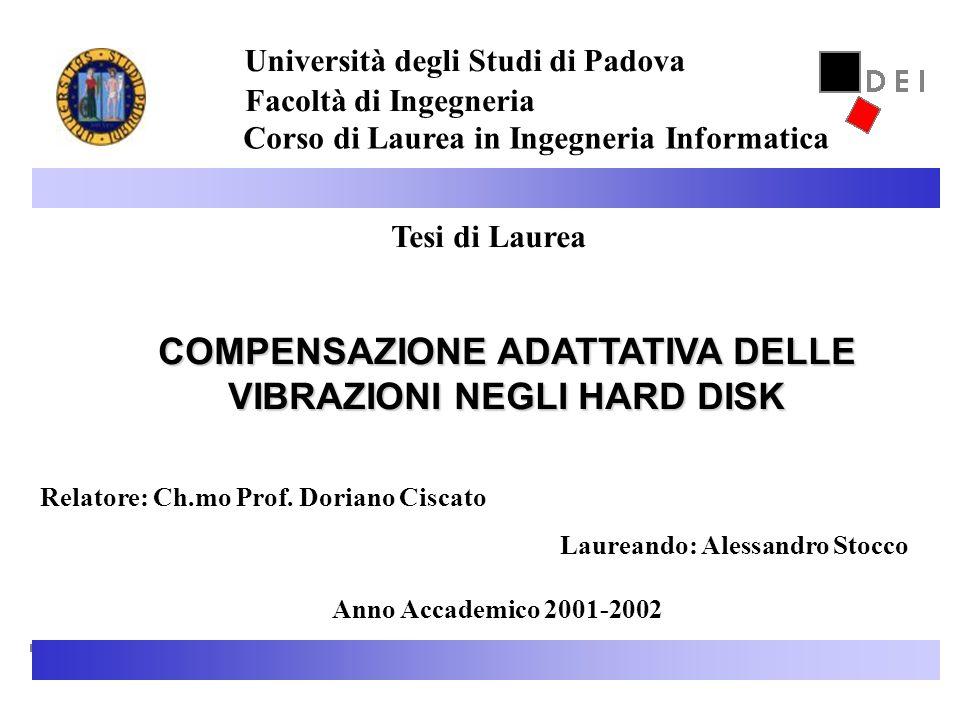 26 Novembre 20021 Tesi di Laurea COMPENSAZIONE ADATTATIVA DELLE VIBRAZIONI NEGLI HARD DISK Relatore: Ch.mo Prof. Doriano Ciscato Laureando: Alessandro