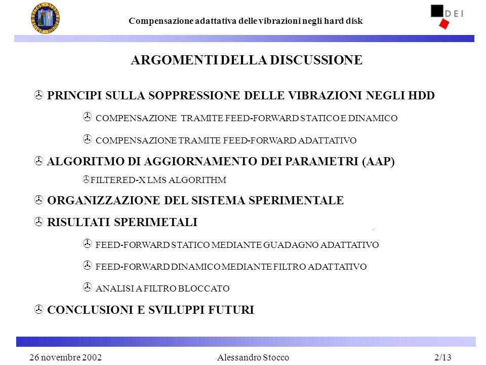2 Compensazione adattativa delle vibrazioni negli hard disk Alessandro Stocco > PRINCIPI SULLA SOPPRESSIONE DELLE VIBRAZIONI NEGLI HDD > COMPENSAZIONE