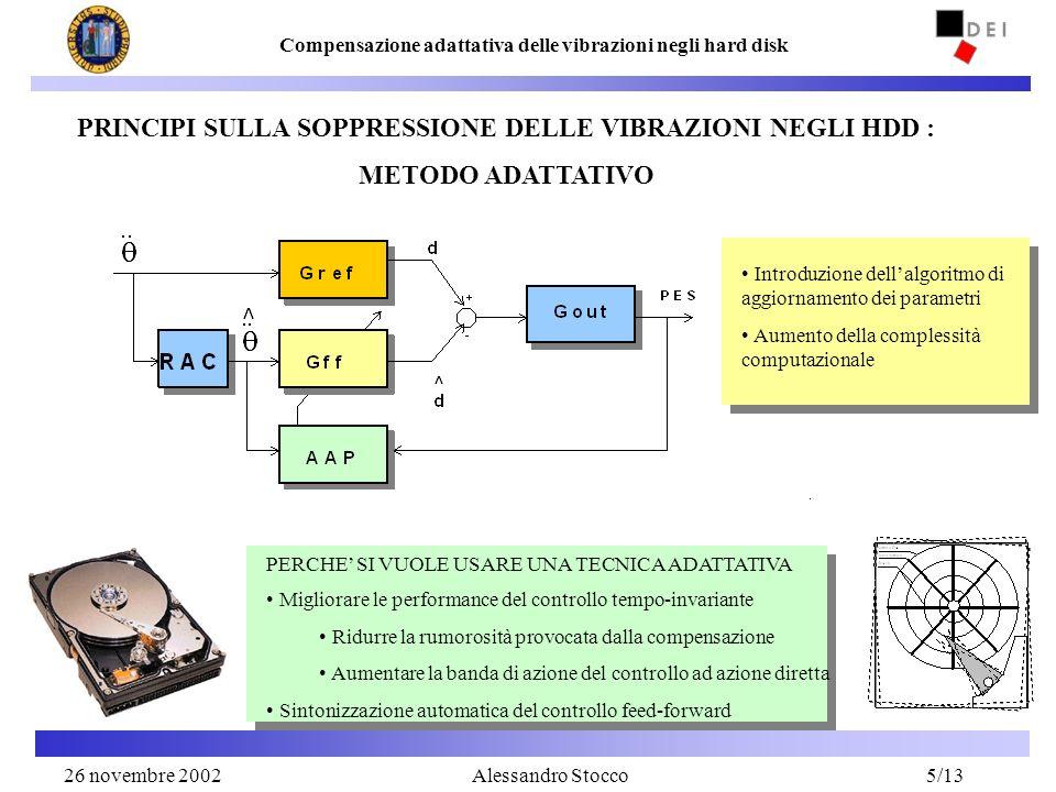 26 Novembre 20025 Compensazione adattativa delle vibrazioni negli hard disk Alessandro Stocco Migliorare le performance del controllo tempo-invariante