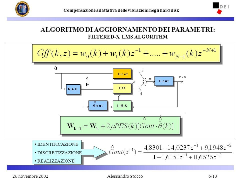 26 Novembre 20026 Compensazione adattativa delle vibrazioni negli hard disk Alessandro Stocco ALGORITMO DI AGGIORNAMENTO DEI PARAMETRI: FILTERED-X LMS