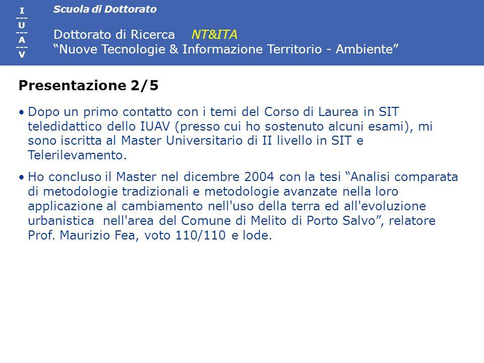 Scuola di Dottorato Dottorato di Ricerca NT&ITA Nuove Tecnologie & Informazione Territorio - Ambiente I --- U --- A --- V Dopo un primo contatto con i