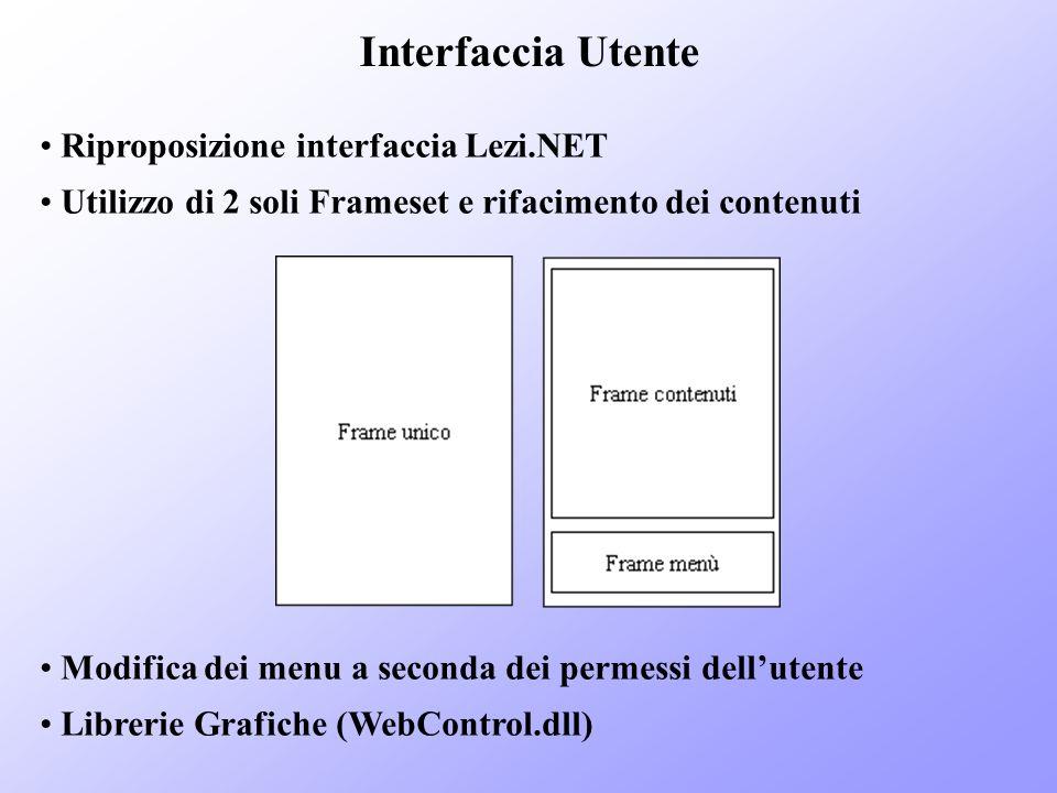 Interfaccia Utente Riproposizione interfaccia Lezi.NET Utilizzo di 2 soli Frameset e rifacimento dei contenuti Modifica dei menu a seconda dei permess