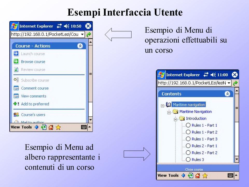 Esempi Interfaccia Utente Esempio di Menu di operazioni effettuabili su un corso Esempio di Menu ad albero rappresentante i contenuti di un corso
