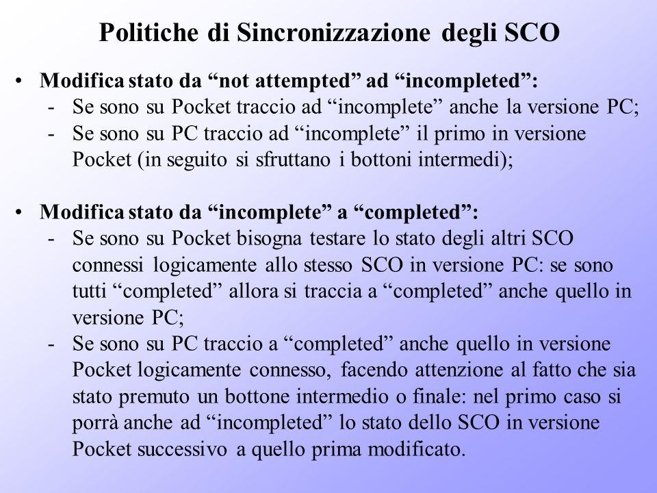 Politiche di Sincronizzazione degli SCO Modifica stato da not attempted ad incompleted: -Se sono su Pocket traccio ad incomplete anche la versione PC;