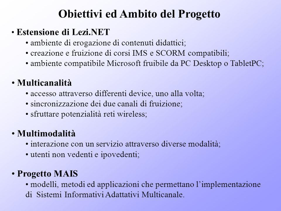 Obiettivi ed Ambito del Progetto Estensione di Lezi.NET ambiente di erogazione di contenuti didattici; creazione e fruizione di corsi IMS e SCORM comp
