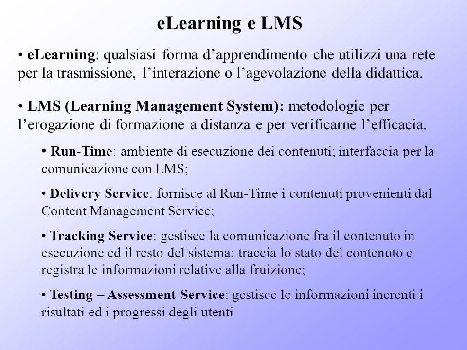 eLearning e LMS eLearning: qualsiasi forma dapprendimento che utilizzi una rete per la trasmissione, linterazione o lagevolazione della didattica. LMS