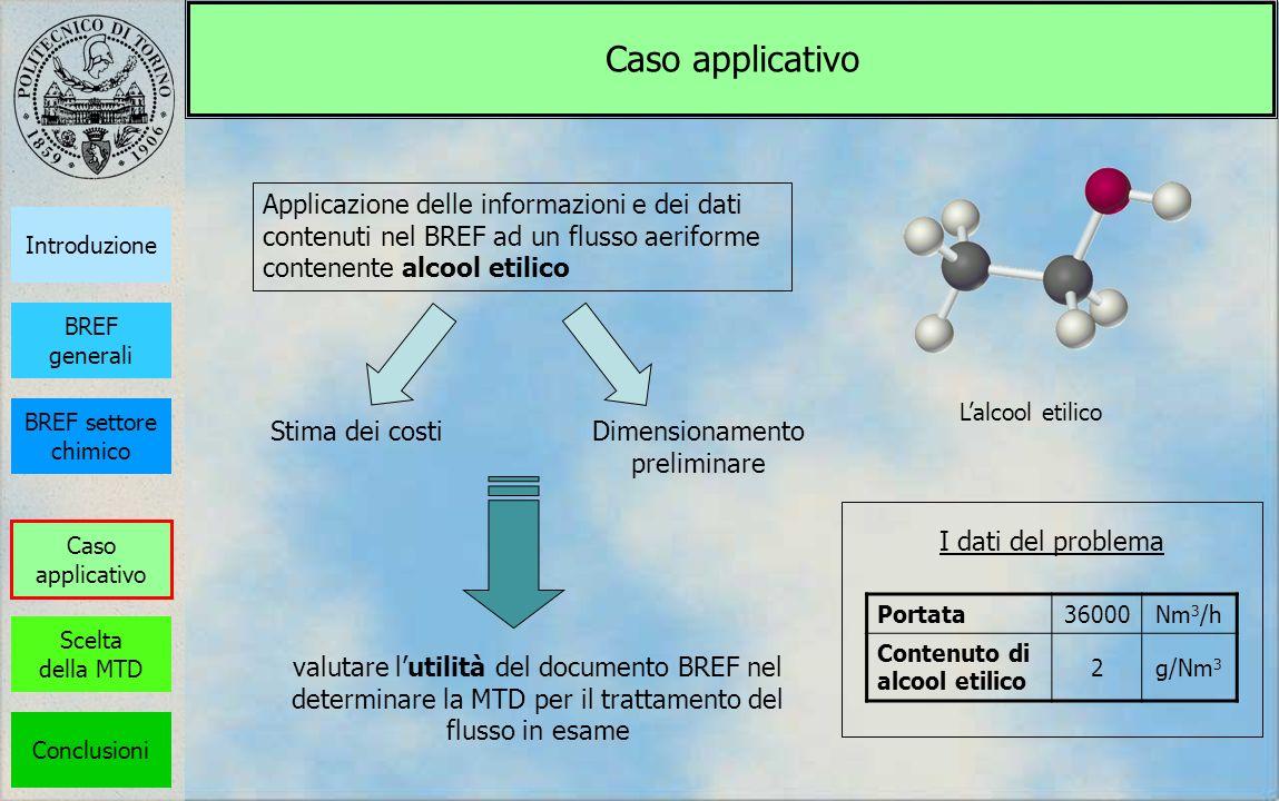 Caso applicativo Applicazione delle informazioni e dei dati contenuti nel BREF ad un flusso aeriforme contenente alcool etilico Lalcool etilico Dimens