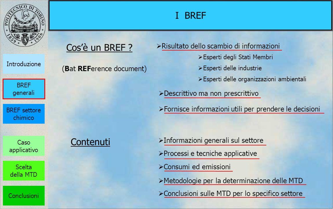 I BREF Attualmente esistono circa 30 BREF, relativi ai settori indicati dalla Direttiva Documento di riferimento sulle migliori tecniche disponibili per il trattamento di acque e gas comuni di scarico nel settore chimico Lo studio è circoscritto alla parte relativa alle emissioni gassose Caso applicativo Introduzione BREF settore chimico Scelta della MTD Conclusioni BREF generali