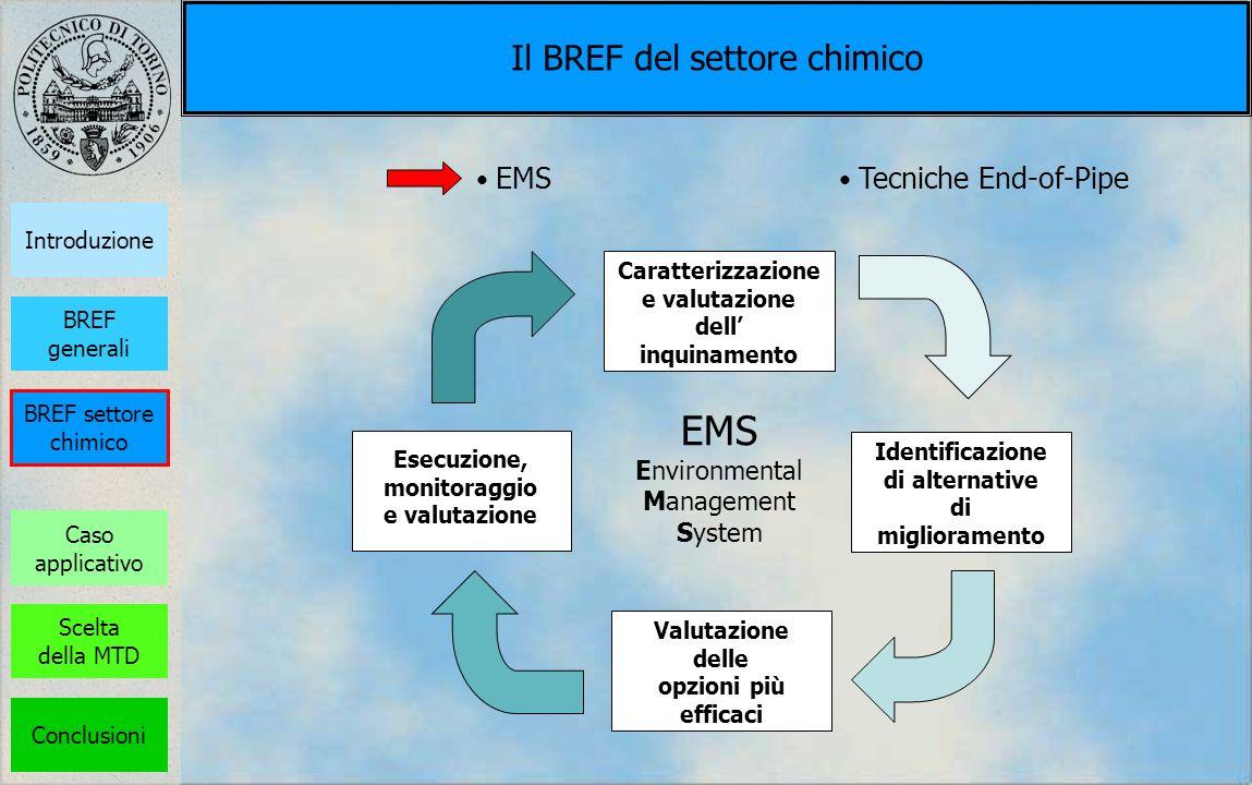 Il BREF del settore chimico Caratterizzazione e valutazione dell inquinamento Valutazione delle opzioni più efficaci Identificazione di alternative di
