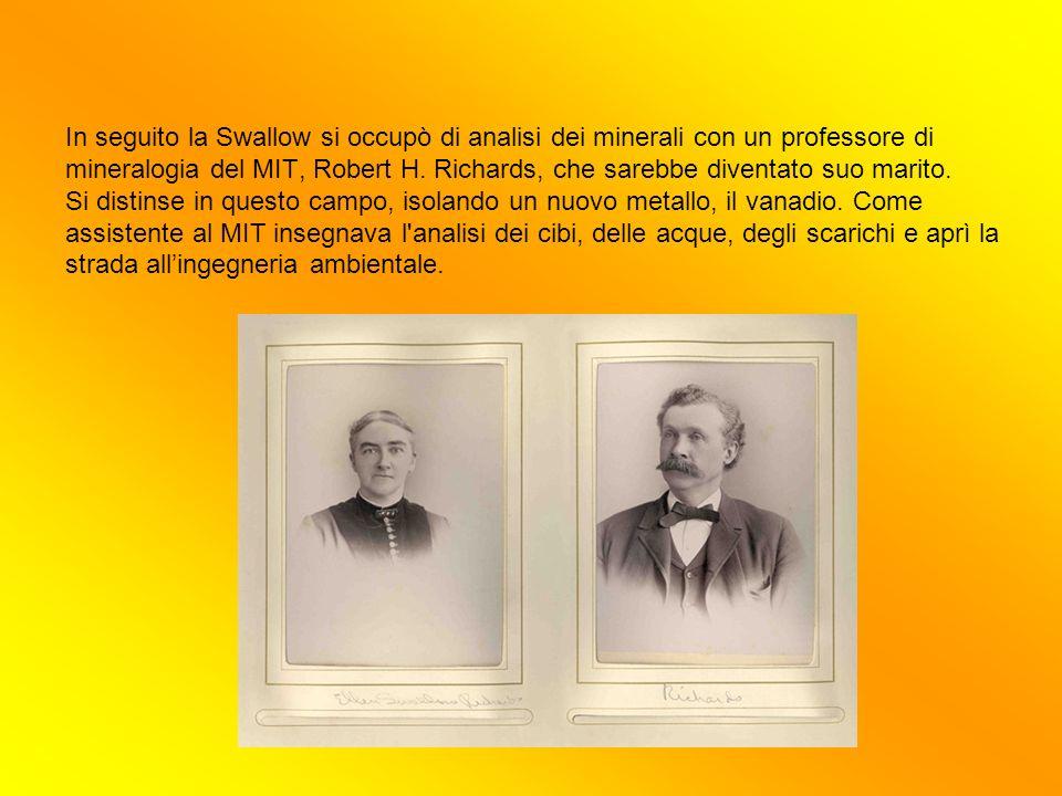 In seguito la Swallow si occupò di analisi dei minerali con un professore di mineralogia del MIT, Robert H. Richards, che sarebbe diventato suo marito