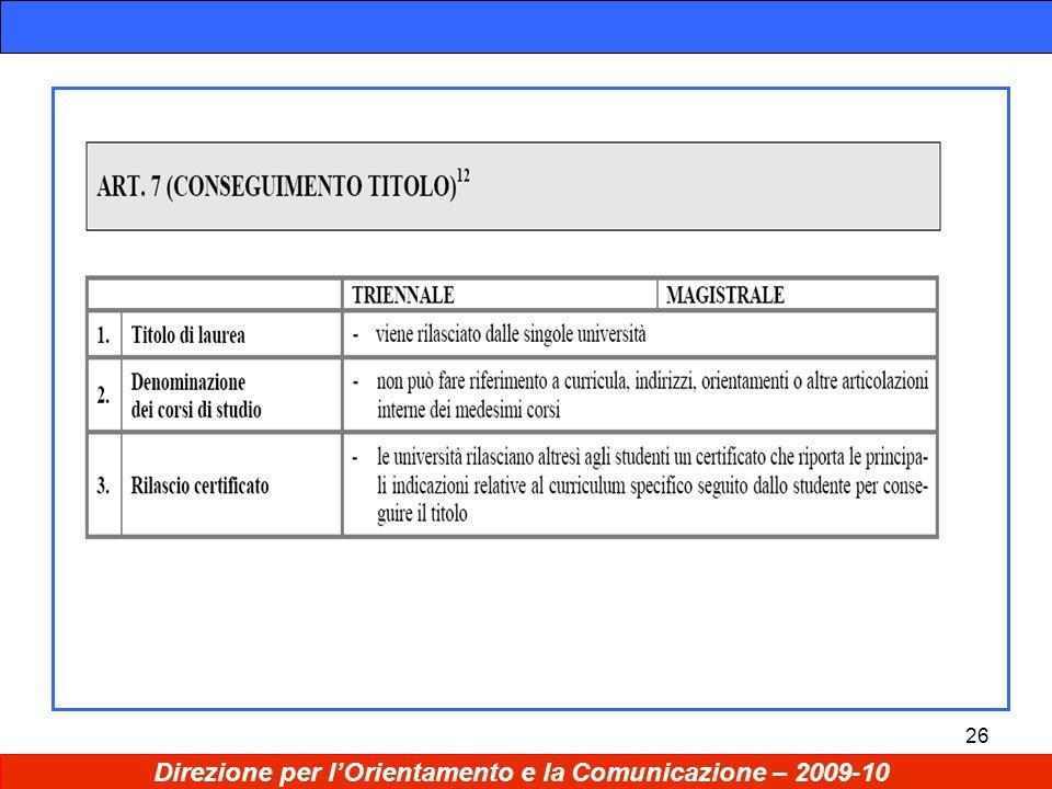 26 Direzione per lOrientamento e la Comunicazione – 2009-10