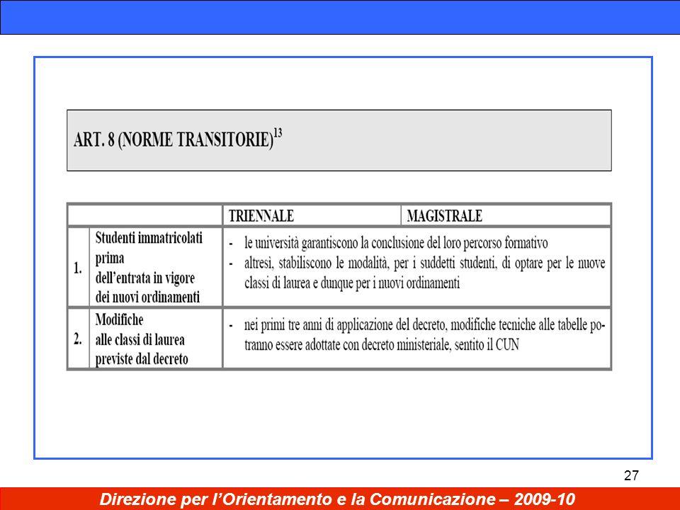 27 Direzione per lOrientamento e la Comunicazione – 2009-10