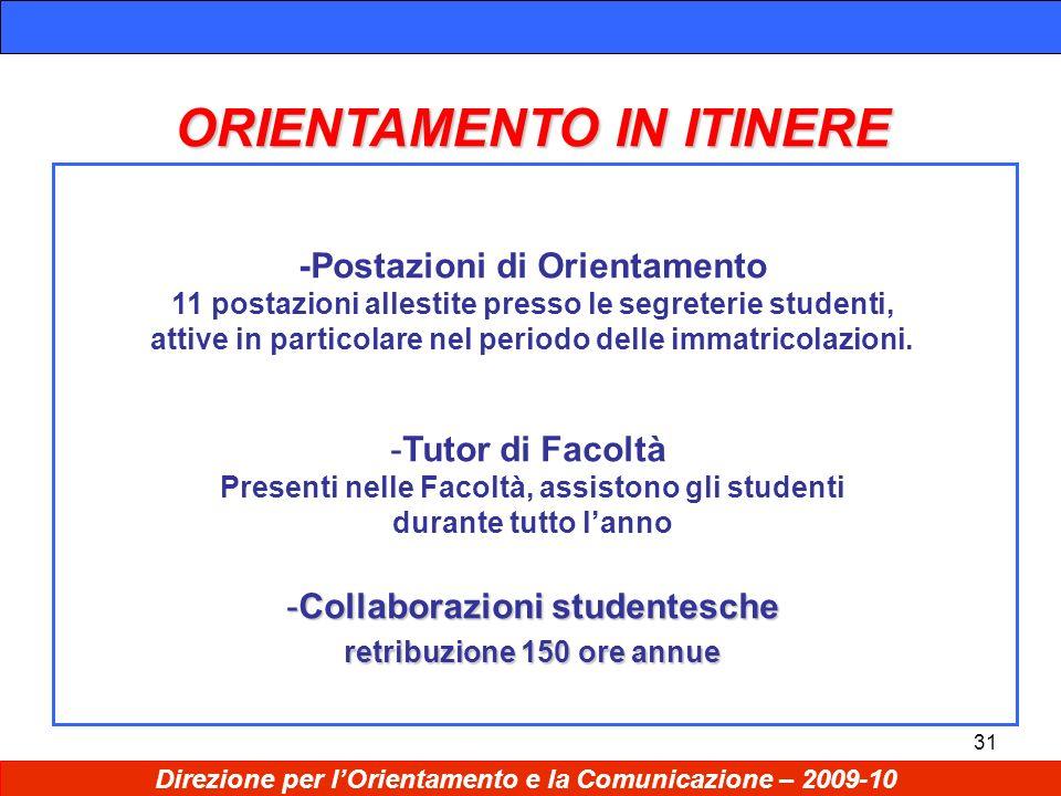 31 ORIENTAMENTO IN ITINERE -Postazioni di Orientamento 11 postazioni allestite presso le segreterie studenti, attive in particolare nel periodo delle immatricolazioni.