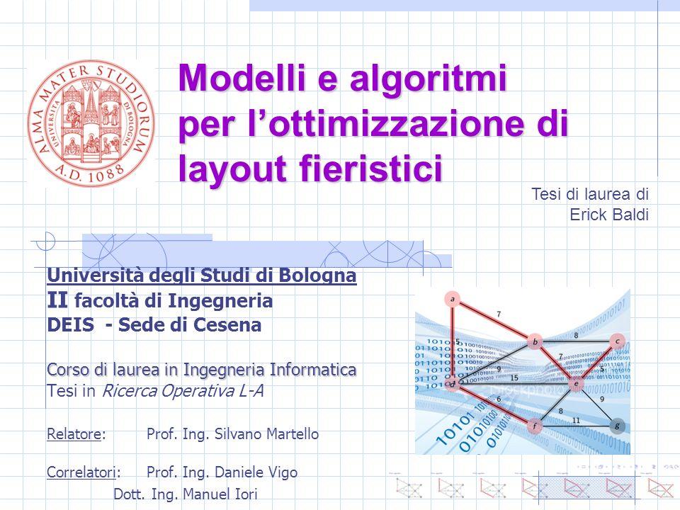 Modelli e algoritmi per lottimizzazione di layout fieristici Università degli Studi di Bologna II facoltà di Ingegneria DEIS - Sede di Cesena Corso di