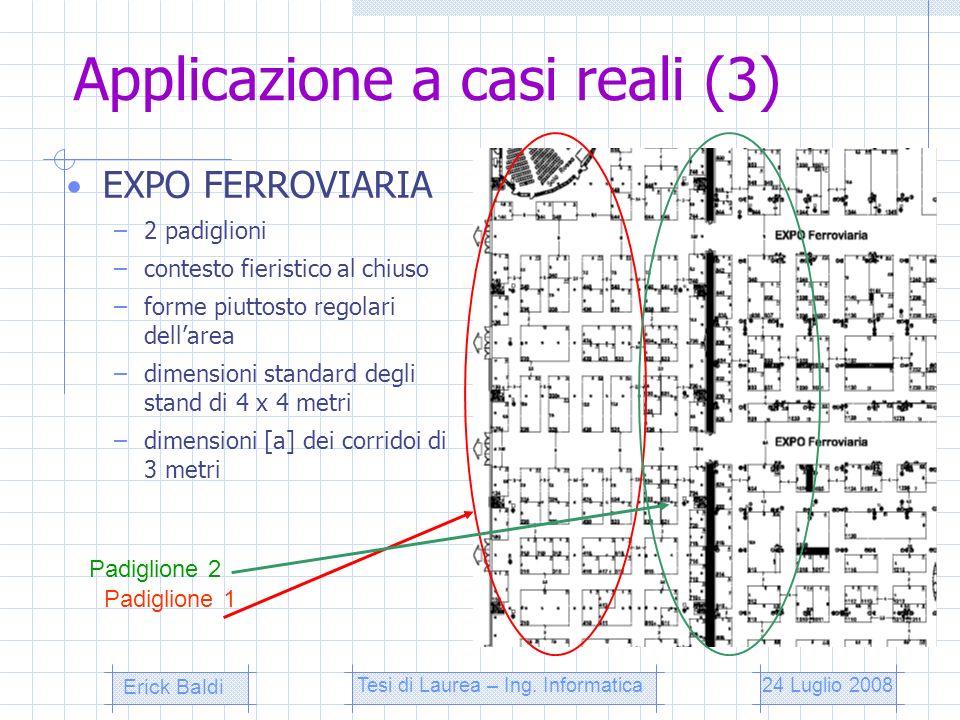Applicazione a casi reali (3) EXPO FERROVIARIA –2 padiglioni –contesto fieristico al chiuso –forme piuttosto regolari dellarea –dimensioni standard de