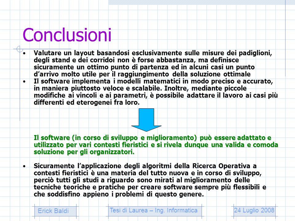 Conclusioni Valutare un layout basandosi esclusivamente sulle misure dei padiglioni, degli stand e dei corridoi non è forse abbastanza, ma definisce s