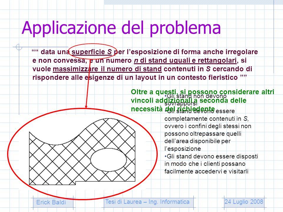 Applicazione del problema data una superficie S per lesposizione di forma anche irregolare e non convessa, e un numero n di stand uguali e rettangolar