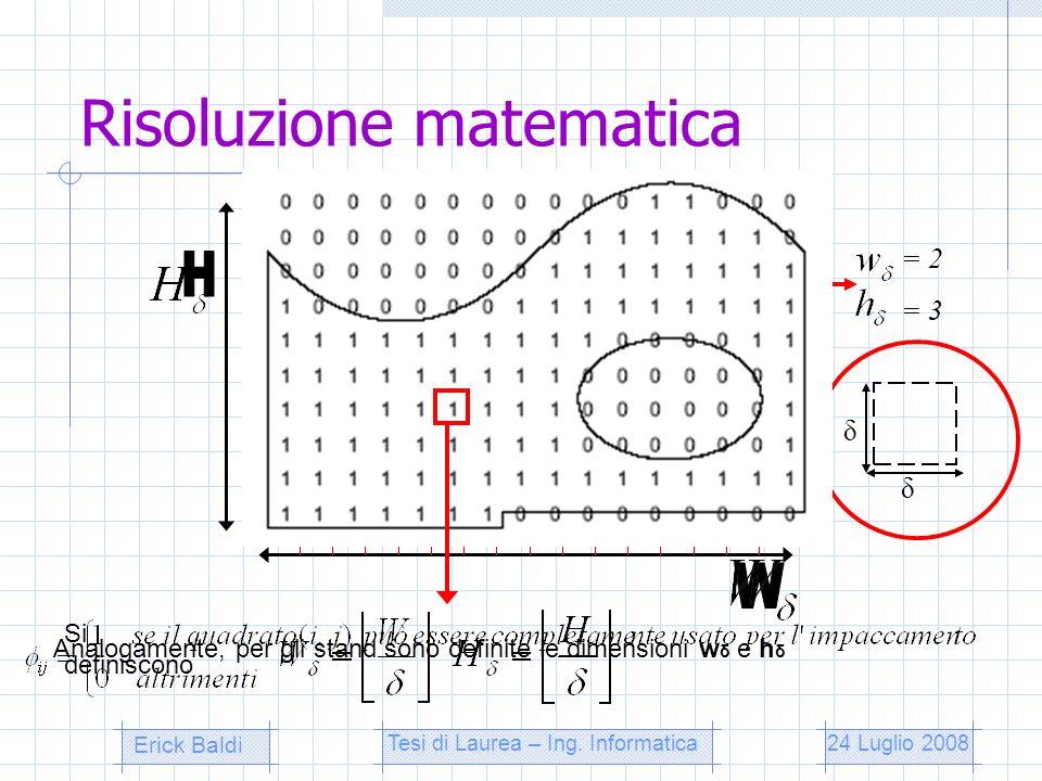 Risoluzione matematica δ δ Si definiscono Analogamente, per gli stand sono definite le dimensioni w δ e h δ = 2 = 3 Erick Baldi Tesi di Laurea – Ing.