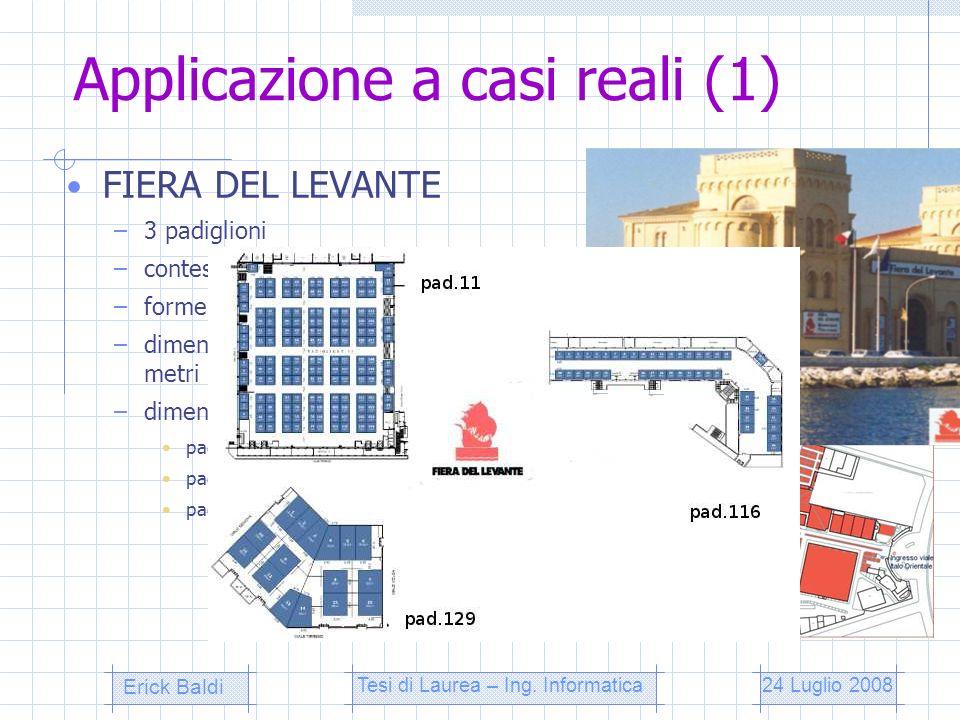 Applicazione a casi reali (1) FIERA DEL LEVANTE –3 padiglioni –contesto fieristico allaperto –forme irregolari dellarea –dimensioni standard degli sta