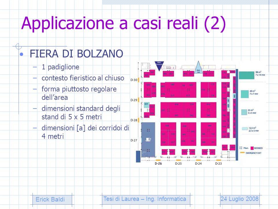 Applicazione a casi reali (3) EXPO FERROVIARIA –2 padiglioni –contesto fieristico al chiuso –forme piuttosto regolari dellarea –dimensioni standard degli stand di 4 x 4 metri –dimensioni [a] dei corridoi di 3 metri 24 Luglio 2008Tesi di Laurea – Ing.