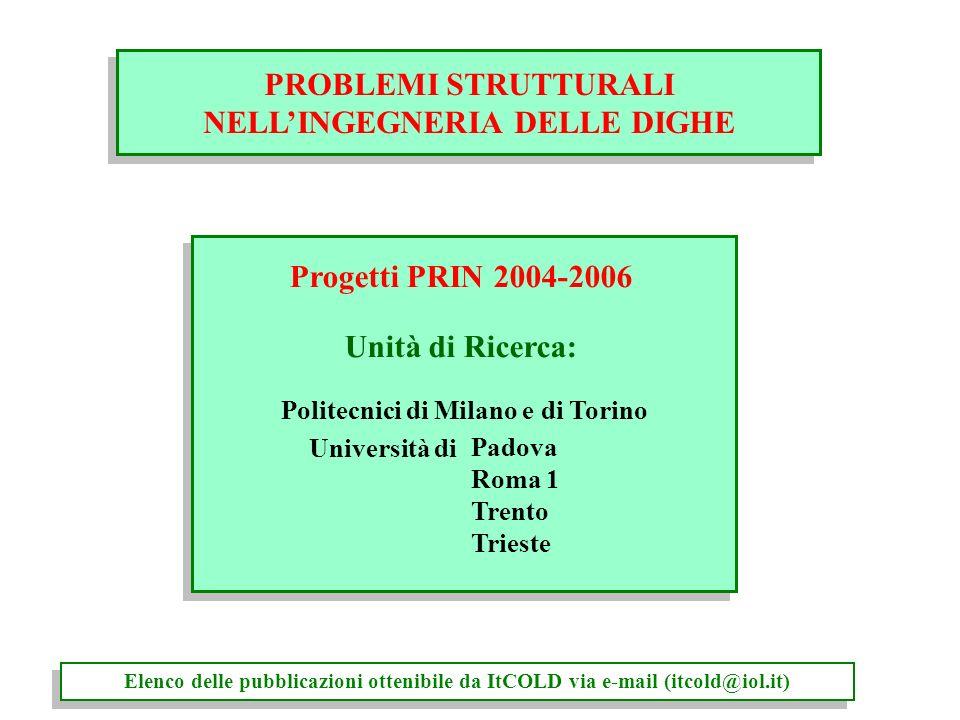 Progetti PRIN 2004-2006 Unità di Ricerca: Politecnici di Milano e di Torino PROBLEMI STRUTTURALI NELLINGEGNERIA DELLE DIGHE PROBLEMI STRUTTURALI NELLI