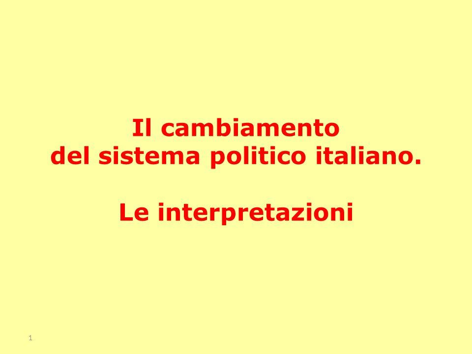 Illustrare il cambiamento del sistema politico italiano alla luce dei contributi della scienza politica Valutare la significatività delle riforme istituzionali e illustrare alcuni problemi ancora aperti Analizzare il rendimento democratico del sistema politico italiano e valutare l impatto come questo è cambiato dagli anni 90 a oggi Obiettivi del capitolo 2