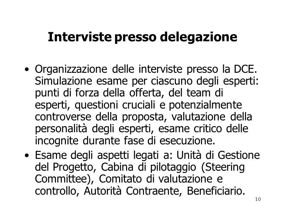 10 Interviste presso delegazione Organizzazione delle interviste presso la DCE. Simulazione esame per ciascuno degli esperti: punti di forza della off